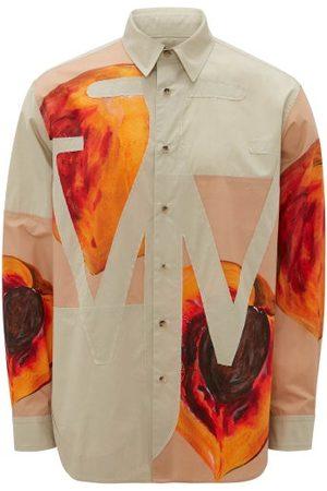 J.W.Anderson Logo-appliqué Peach-print Poplin Shirt - Mens