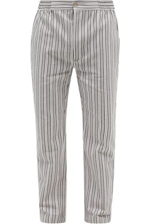 P. Le Moult Men Pajamas - Striped Herringbone-cotton Pyjama Trousers - Mens - Grey Stripe