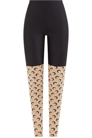 Marine Serre Women Leggings - Crescent Moon-print Recycled-fibre Leggings - Womens - Tan Multi