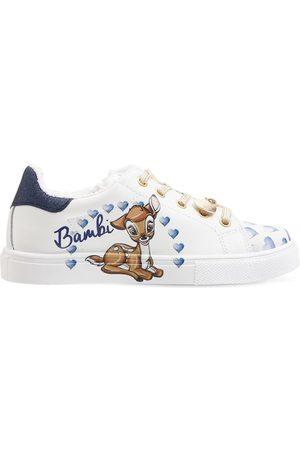 MONNALISA Bambi Print Leather Sneakers