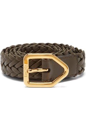 Tom Ford Lozenge Woven-leather Belt - Mens - Dark Olive