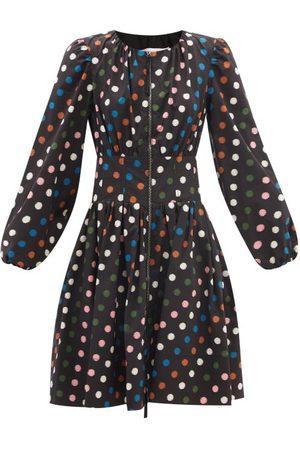 Carolina Herrera Women Dresses - Zipped Polka-dot Cotton-poplin Dress - Womens - Multi