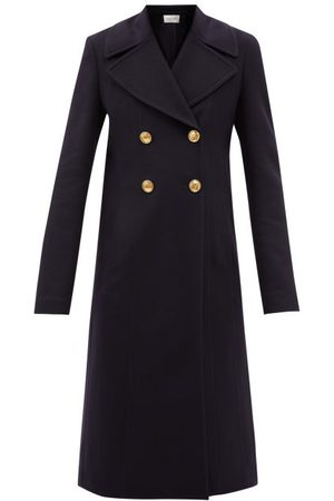 VALENTINO Double-breasted Felted Wool-blend Coat - Womens - Navy