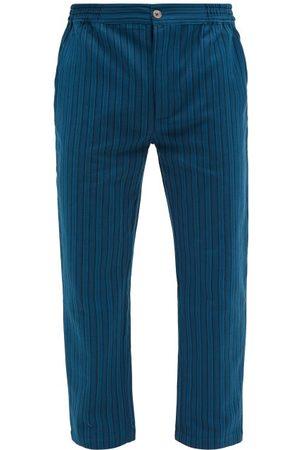 P. Le Moult Men Pajamas - Striped Herringbone-cotton Pyjama Trousers - Mens - Stripe