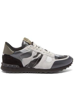 VALENTINO GARAVANI Men Sneakers - Rockrunner Panelled Leather & Suede Trainers - Mens - Multi