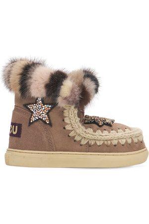 Mou Girls Boots - Eskimo Shearling Boots W/ Embellishments