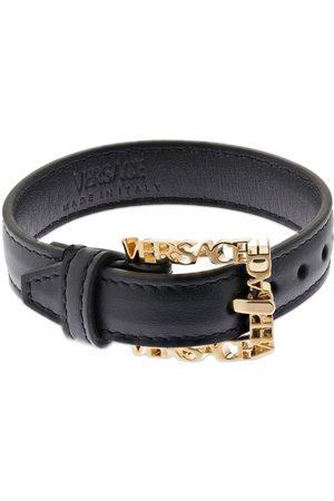 VERSACE Logo Lettering Leather Belt Bracelet