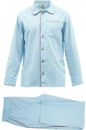 P. Le Moult Piped Striped-cotton Pyjamas - Mens
