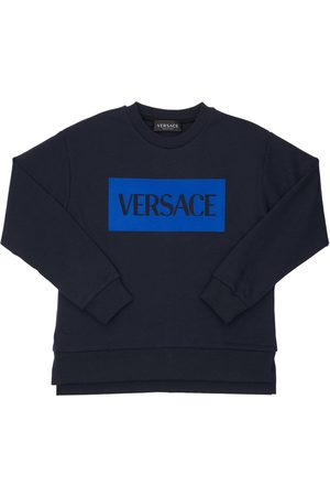 VERSACE Logo Print Jersey Sweatshirt