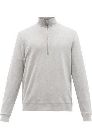 Sunspel Men Turtlenecks - Zipped High-neck Cotton-jersey Sweater - Mens - Grey