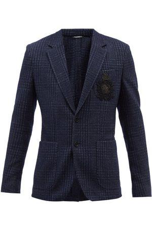 Dolce & Gabbana Men Blazers - Single-breasted Checked Wool-blend Tweed Blazer - Mens - Navy Multi