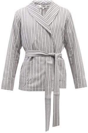 P. Le Moult Belted Striped Cotton Bathrobe - Mens - Grey Stripe