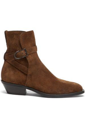 Tod's Buckled Cuban-heel Suede Boots - Mens - Dark