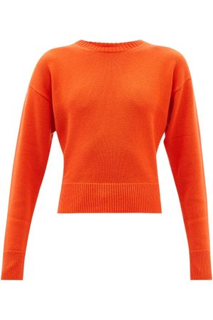VALENTINO Women Sweaters - Logo-intarsia Cropped Cashmere Sweater - Womens