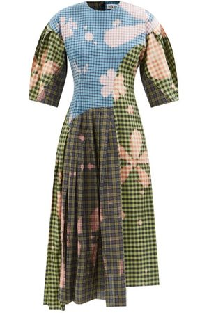 Rave Review Women Dresses - Lou Patchwork Checked Upcycled Cotton Dress - Womens - Multi
