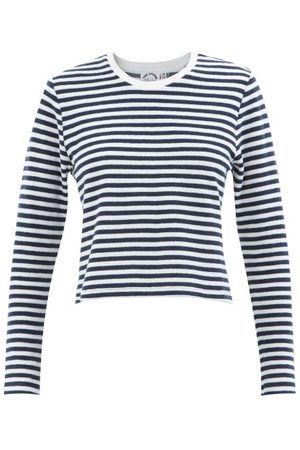 The Upside Beaumont Striped Cotton-blend Terry T-shirt - Womens - Navy Stripe