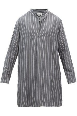 P. Le Moult Stand-collar Striped-cotton Nightshirt - Mens - Stripe