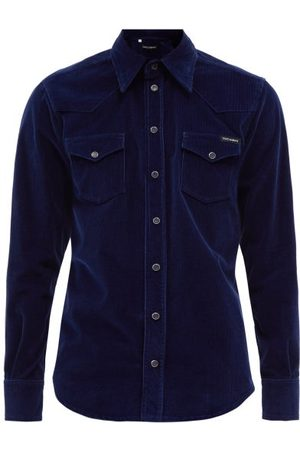 Dolce & Gabbana Patch-pocket Cotton-blend Corduroy Shirt - Mens - Navy