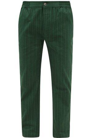P. Le Moult Striped Herringbone-cotton Pyjama Trousers - Mens - Stripe