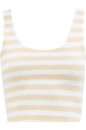 The Upside Women Sweats - Makai Lana Striped Cotton-blend Terry Top - Womens - Stripe