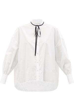 Erdem The Poet Pussy-bow Cotton-poplin Shirt - Womens