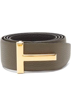 Tom Ford Men Belts - T-logo Reversible Leather Belt - Mens - Khaki