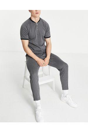 Mauvais Geo knit smart pant half belt in