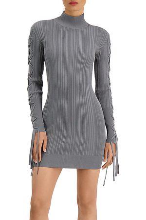 Hervé Léger Women Bodycon Dresses - Ribbed Lace Mini Bodycon Dress