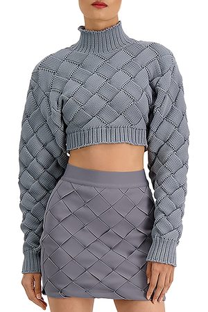 Hervé Léger Chunky Weave Crop Sweater