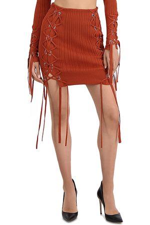Hervé Léger Variegated Rib Lace Up Mini Skirt