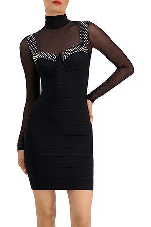 Hervé Léger Embellished Illusion Bra Mini Dress