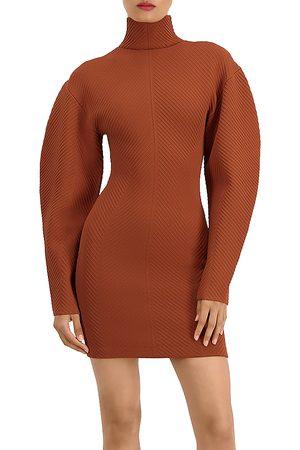 Hervé Léger Ribbed Long Sleeve Mini Dress