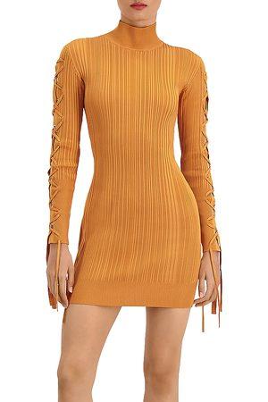 Hervé Léger Ribbed Lace Mini Bodycon Dress