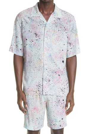 McQ Men's Speckle Print Short Sleeve Button-Up Camp Shirt
