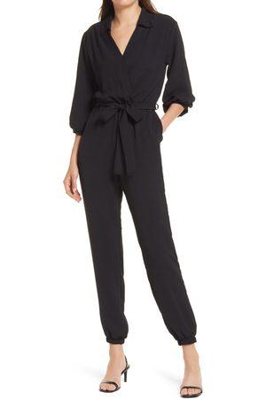 Fraiche by J Women's Tie Waist Long Sleeve Jumpsuit