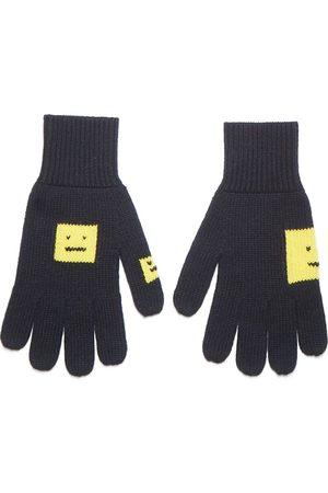 Acne Studios Face Logo Gloves Black And