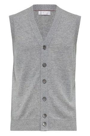 Brunello Cucinelli Men Tank Tops - Cashmere Lithe yarn vest
