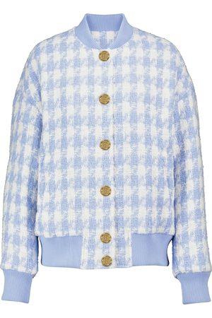 Balmain Women Bomber Jackets - Houndstooth tweed bomber jacket