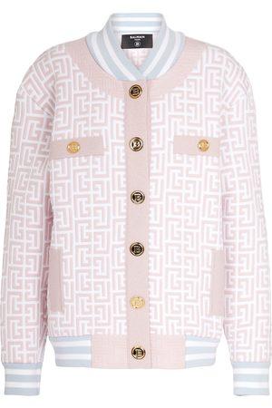 Balmain Monogram metallic knit bomber jacket