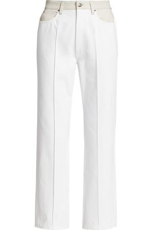 Goldsign Women Leather Pants - Martin Leather-Trim Flare Jeans
