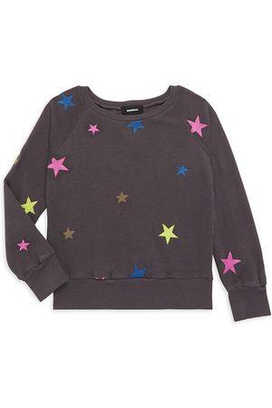 MONROW Little Girl's & Girl's Star-Embroidered Crewneck Sweatshirt
