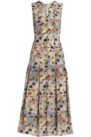Oscar de la Renta Floral Sleeveless Pleated Dress
