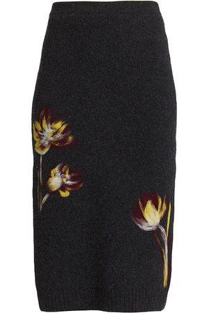Oscar de la Renta Floral Punch Needle Pencil Skirt