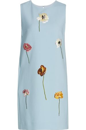 Oscar de la Renta Sleeveless Embroidered Flower Dress