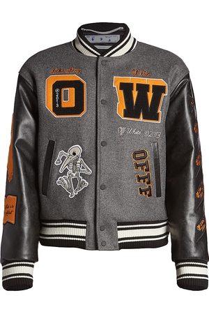 OFF-WHITE Leather Varsity Bomber Jacket