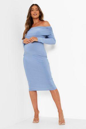 Boohoo Womens Maternity Bardot Overlay Midi Dress - - 4