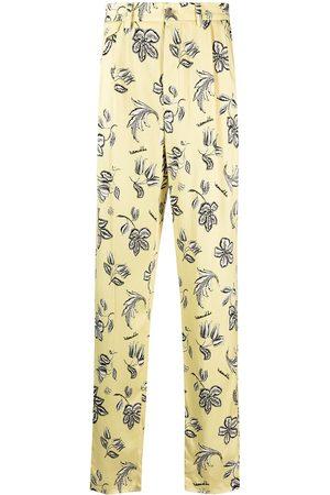 Nanushka Men Straight Leg Pants - Floral-print loose-fit trousers