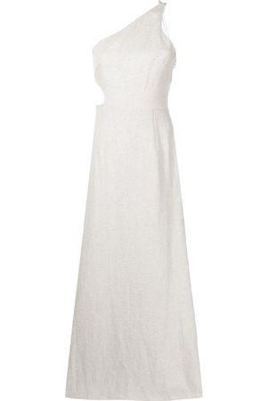 RACHEL GILBERT Women Asymmetrical Dresses - Asymmetric linen maxi dress - Neutrals
