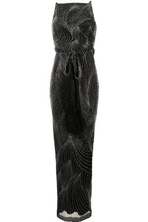 RACHEL GILBERT Tied-waist embellished gown