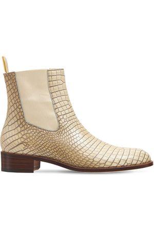 Tom Ford Vintage Croc Emb Leather Ankle Boots